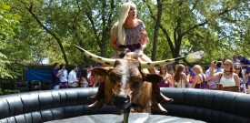 Girl on a Bull Outdoors